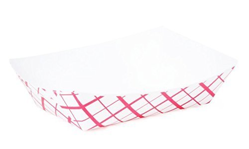Large (2 Lb.) Red Plaid Paper Food Tray   25 Ct by Creative Juice Cafe 2 Lb Red Plaid