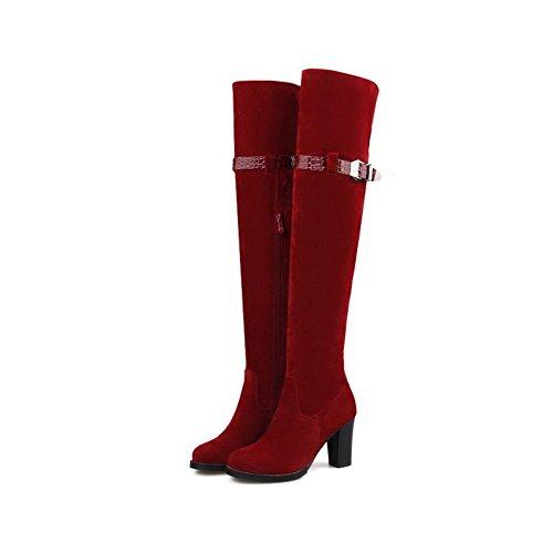 VogueZone009 Damen Niedrig-Spitze Eingelegt Reißverschluss Stiefel mit Juwelen, Rot, 38