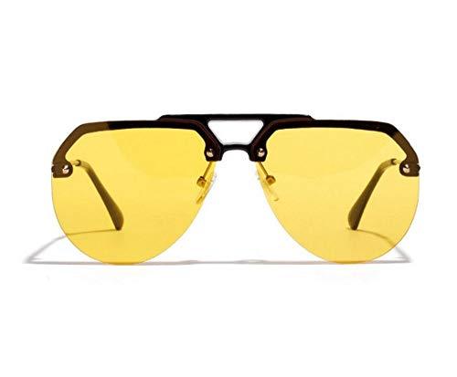 WSKPE Sonnenbrille,Die Hälfte Der Rahmen Der Frauen Sonnenbrille Big Shades Sonnenbrille Für Männer Hippie Brille Uv400 Schwarzen Rahmen,Gelbe Linse