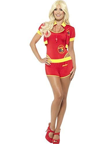 Halloweenia - Damen Frauen Deluxe Baywatch Lifeguard Bademeister Kostüm mit Badeanzug, Shorts, Jacke und Trillerpfeife, perfekt für Karneval, Fasching und Fastnacht, M, Rot