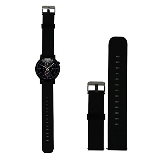 18MM 20MM 22MM Silikon Ersatz Armband Band für Huawei Withings Activité Pebble Time Pebble Time Steel Motorola 360 2nd Gen Samsung Gear 2 R380 R381 R382 LG G Watch W100 W110 Urbane W150 Asus ZenWatch Vivowatch (18MM, Black)
