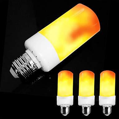 RUNGUANG LIGHTS Light Bulbs, Home Bulbs 4pcs E26 E27/E14 5W LED Flame Effect Light Bulb-4 Modes with Upside Down Effect AC85-265V Bulbs (Connector : E26/E27, Light Source Color : Warm White-85-265V)
