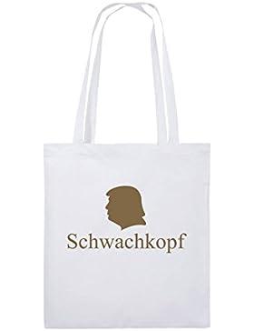 Comedy Bags - Schwachkopf - TRUMP - Jutebeutel bedruckt, Baumwolltasche zwei lange Henkel aus 100 % Baumwolle...