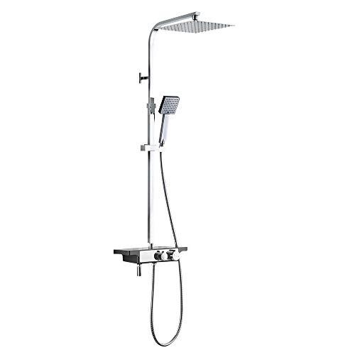 Auralum colonna doccia acciaio inox con miscelatore 25x25cm soffione doccetta e mensola portaoggetti,3 funzioni set doccia completa barra regolabile,cromo