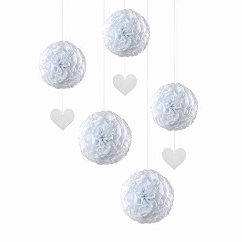 EinsSein 5er Mix Pom Poms mit Anhänger 3X Herz Anhänger Weiss 2X Large (Weiss) Pompons Hochzeit Wedding Pompons Dekokugel
