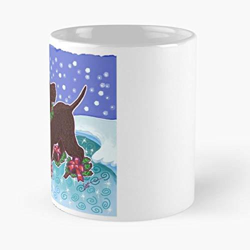 Irish Water Spaniel Dog Art Christmas Card - Funny Gifts For Men And Women Gift Coffee Mug Tea Cup White-11 Oz. -