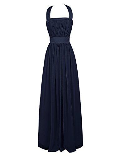 Dresstells, A-ligne robe de mariage, robe mousseline de soirée, robe longue de demoiselle d'honneur dos nu Marine