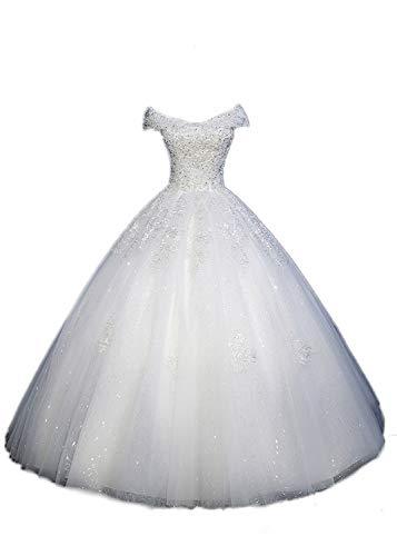 Applique Beaded Bride Gown Sexy Wedding Dress Off-The-Shoulder White Simple Light Wedding Dress,White,XS - White Wedding-shirt