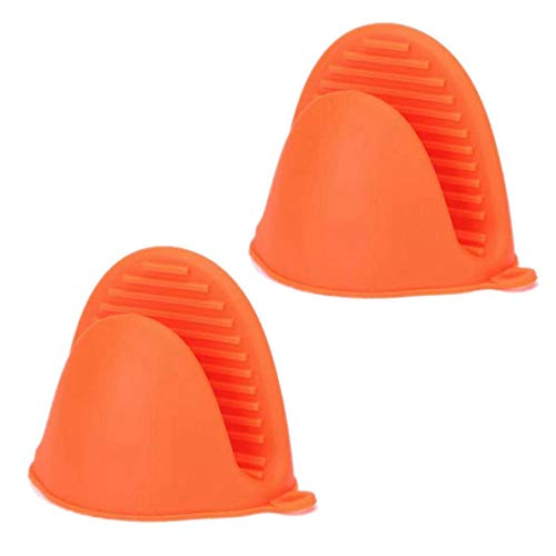 TIANOR 2 Stück Topflappen Silikon Topf Halter Herd Mini Mitt Kochen Pinch Grips Silikon-Handschuhe Pot Holder Kochen Prise Griffe (Orange)