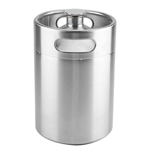 31UNxkJZf3L. SS500  - Beer Barrel Mini Keg Style Growler Stainless Steel Beer Supplies Holds Beer Double Handles for Home Camping Picnic (2L)