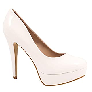 Elara Plateau Pumps | Moderne Damen High Heels | Stiletto Schuhe, Weiss 39