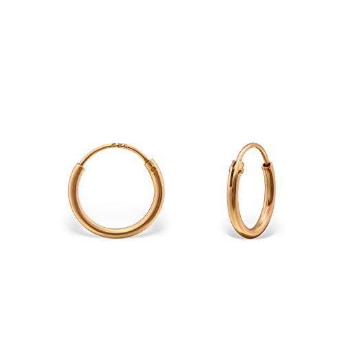 Monkimau Silber Creolen Rose-Gold Ohrring-e 925 Sterling Hoop Ring Huggie Kreolen Unisex Ohrschmuck Damen-Schmuck Frau-en Kinder-Schmuck Mädchen-Ohrringe Geschenk-e (10 mm) (Hoop Ohrringe Gold)