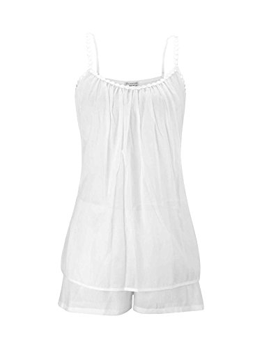 Eva B.Bitzer Nachtwäsche-Set aus Baumwoll-Mousseline Damen Weiß