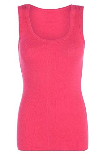 Janisramone Ladies Ribbed Vest T Shirt Tee Plain Stretchy Rib Strap Vest Tank Top Cerise