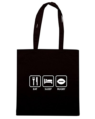 T-Shirtshock - Borsa Shopping TRUG0105 eat sleep rugby logo Nero