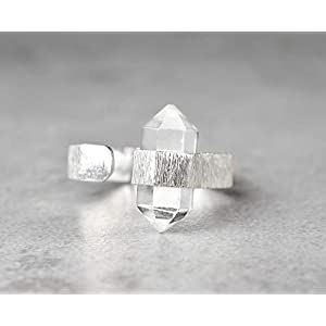 925 Sterling Silber Edelstein Ring mit Bergkristall