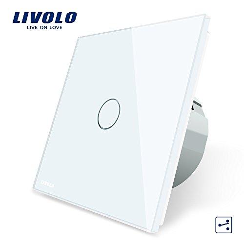 LIVOLO Weiss Wechselschalter/Kreuzschalter mit LED Anzeige Licht Platte aus Kristallglas Ein/Aus Licht Schalter 1 Fach 2 Weg,VL-C701S-11-A