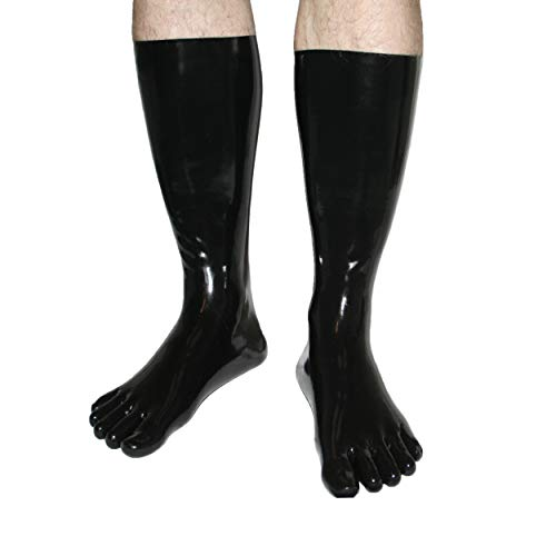 Rubberfashion sehr lange Latex Zehen Socken, Latexzehensocken bis zur Wade nicht chloriert für Frauen und Herren Menge: 1 Paar schwarz XL