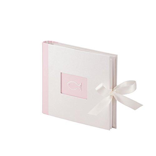 Rössler Papier Fotoalbum / Gästebuch für Kommunion und Konfirmation (60 weiße Seiten, 30 Blatt, 21,5 x 17 cm) rosa-grau