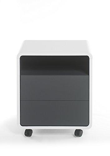 Robas Lund Schreibtisch- Container, Bürocontainer, Tadeo, Weiß/Anthrazit, 38 x 47 x 55 cm,...