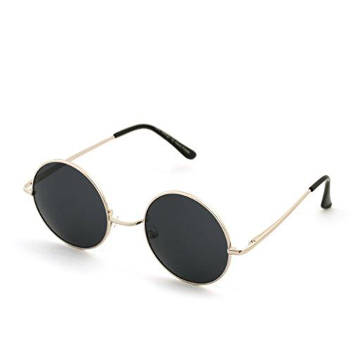 Gafas de sol redondas estilo John Lennon, diseño años 50, marca Morefaz Negro Black Silver regular
