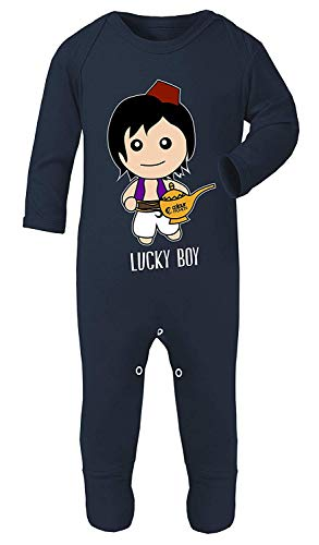 Colour Fashion Aladdin Lucky Boy Aufdruck Kostüm Schlafanzüge Footies 100% Cotton Hypoallergen - Marine, 6-12 Months (Lucky 7 Kostüm)