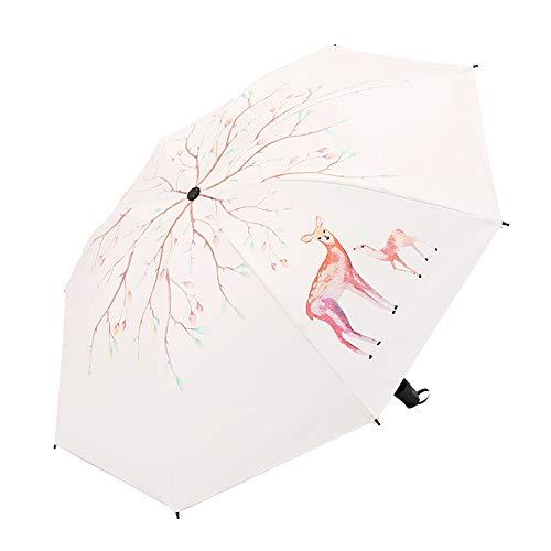 LYJZH Regenschirm Taschenschirm - Kompakt, Stabil - Schirm für Reisen & Business Fawn Kreativschirm aus schwarzem Kunststoff Sonnenschutzfarbe3 98cm