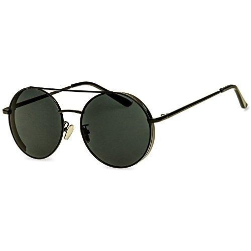 CASPAR SG042 große XL Retro Hippie Sonnenbrille Pilotenbrille Policebrille incl. hochwertigem Etui, Farbe:schwarz/schwarz;Größe:One Size