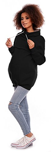Zeta Ville - Sweat-shirt d'allaitement col cheminée top maternité - femme - 354c Noir