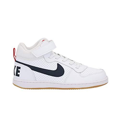 Nike Court Borough Mid (Psv)-870026, Jungen Basketballschuhe, Mehrfarbig (White/Obsidian-University Red 107), 35 EU