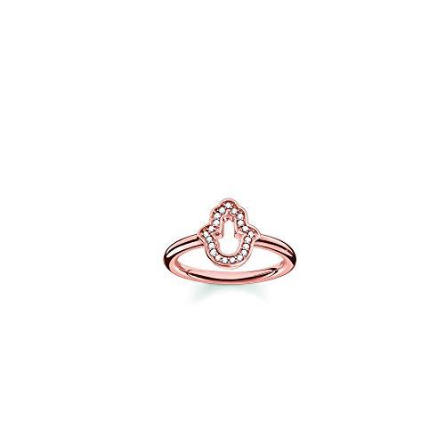 Thomas Sabo Damen-Ring Glam & Soul 925 Sterling Silber 750 rosegold vergoldet Zirkonia weiß Gr. 52 (16.6) TR2076-416-14-52