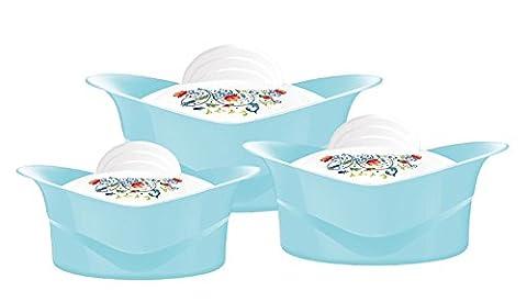 Regalia 3pc Hot Pot Casserole Set Keep Warm Serving Dishes 2.5L, 3.5L and 5L White Blue Green Beige
