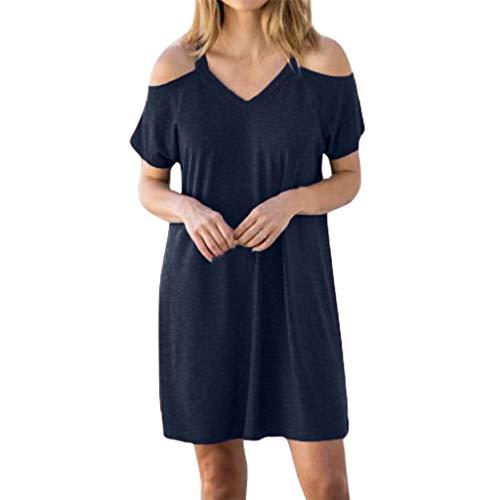 er Einfarbig Sling Schulter Casual Dress für Frauen Bequeme Kleider Beiläufiges Oberteile(Dunkelblau,L2) ()