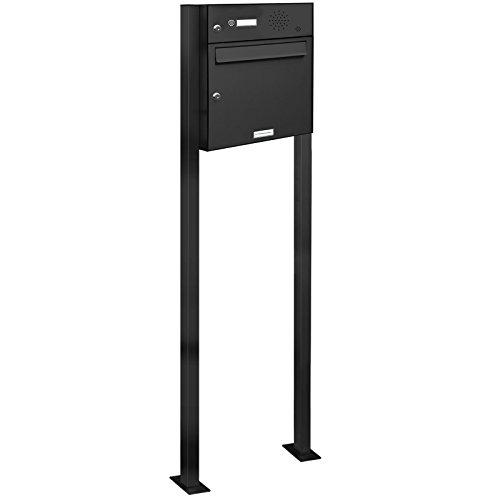 AL Briefkastensysteme 1er Standbriefkasten Anthrazitgrau RAL 7016 mit Klingel als 1 Fach Briefkastenanlage in Postkasten Briefkasten Design modern