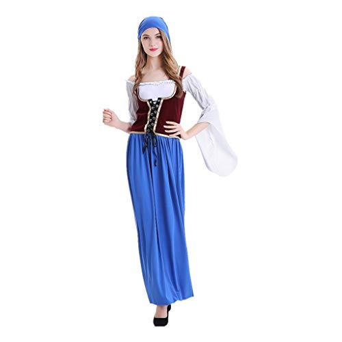 Oktoberfest Damen Kleider,MNRIUOCII Cosplay Kleid Bierfest DienstmäDchen KostüM Kleid Bandage Weste Cover Beinhaltet 1Pc Weste+ 1 X Kopftuch+ 1 Kleid