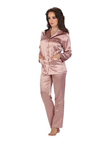 FOREX Lingerie eleganter Satin-Pyjama Schlafanzug Hausanzug im klassischen Still (XL, Rosa)