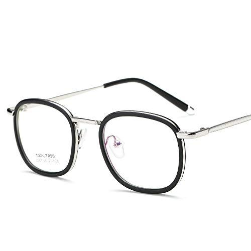 YMTP Männer Frauen Freizeit Kunststoff Titan Optische Gläser Rahmen Myopie Verschreibungspflichtigen Brillen Rahmen Mit Klare Linse, Matt Schwarz