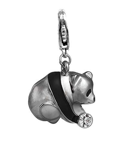 CharmJewelry - Colgante con mosquetón para pulsera o collar, diseño vintage de panda