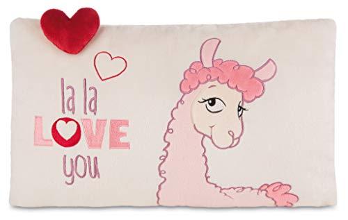 Nici 42705 Kissen Lama mit Herz rechteckig, 43 x 25 cm, cremefarben/rosa