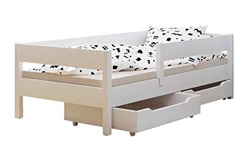 Kinder Einzelbett Miki mit Schubladen 4Farben viele verschiedenen Größen -, holz, weiß, 200x90