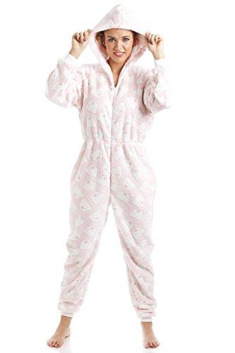 Schlafanzug-Overall mit Kaupuze - weicher Fleece - Pink mit weißem Bärenmuster Pink