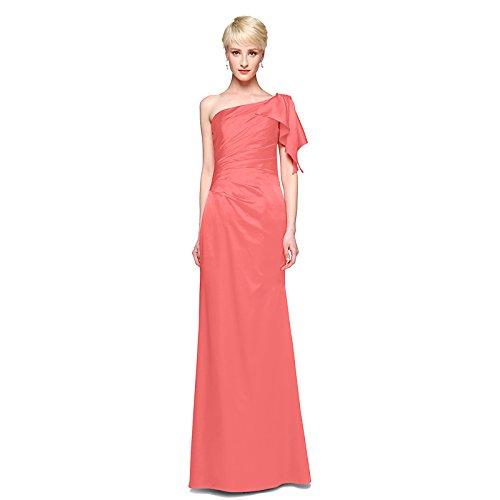 kekafu A-Line Jewel Hals Knöchel Länge Spitze Satin Wedding Dress mit Zierblenden an der Spitze von LAN TING Braut, Wassermelone, US2/UK6/EU32