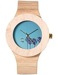 Palms | Reloj de Madera con Esfera de Madera y Correa de Piel ecológica simulando Madera Estampada | Reloj Hombre y Mujer | Diseño…