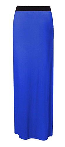 Da donna Tinta unita Gypsy elasticizzato abito jersey lungo Maxi gonna donna Plus Size Royal Blue