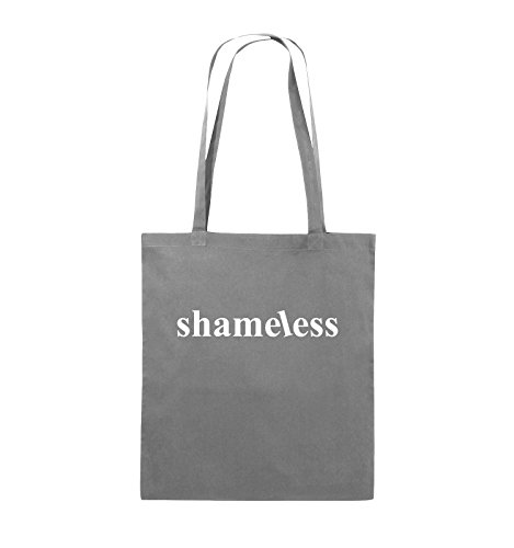 Comedy Bags - shameless - LOGO - Jutebeutel - lange Henkel - 38x42cm - Farbe: Schwarz / Silber Dunkelgrau / Weiss