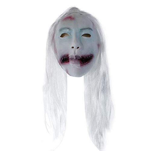 Fulltime Weißes Haar Geistergesicht Blutiger Mund Frau Weiblicher Geist Teufel Böses Kostüm Halloween Party Maske (As - Weibliche Teufel Kostüm Bilder