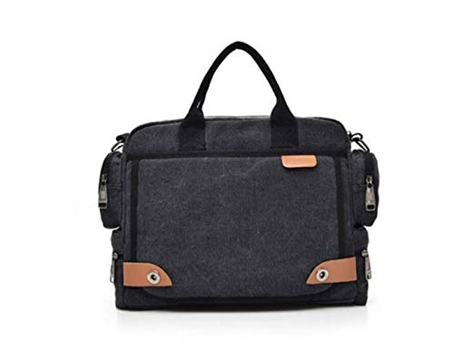 Charles Männer Multifunktions.Canvas Business Laptop Bag Briefcase Handtaschen - Schwarz
