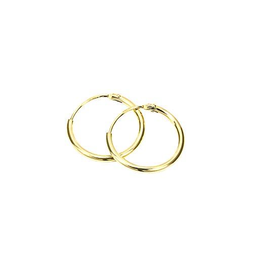 NKlaus PAAR 585 echt GOLD HERREN Klapp Creole Ohrring Ohrschmuck Ohrhänger 11 mm 1753