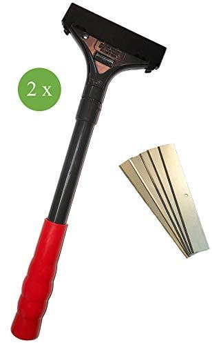 Farbschaber PREMIUM Tapetenschaber Bodenschaber 2er Set Schnellwechselvorrichtung Drehverschluss 100 mm inkl. 2x 5 Ersatzklingen Profi-Werkzeug