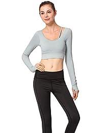Mujer Sujetador Deportivo Push Up Bustier con Correas Fitness Yoga Camisetas Manga Larga